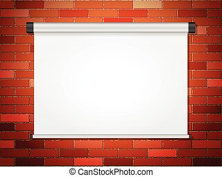 Projection screen on brick wall