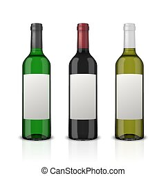 Realistic vector wine bottles with blank label set isolated on white background. Design template in EPS10.