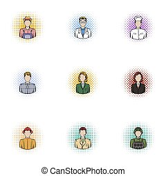 Occupation icons set, pop-art style - Occupation icons set....