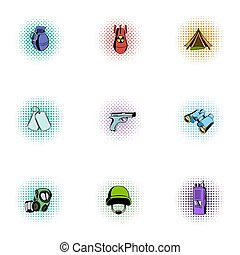 Weapons icons set, pop-art style - Weapons icons set....
