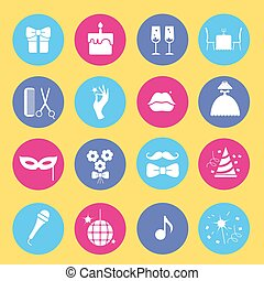 Entertainment and shopping icon set. Vector silhouette illustrat