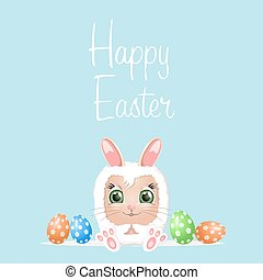 Happy easter day. cute bunny Ears with eggs and text logo on...
