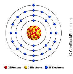 Nickel - 3d render of atom structure of nickel isolated over...