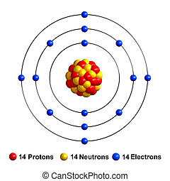 Silicon - 3d render of atom structure of silicon isolated...