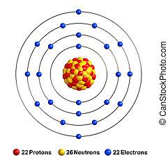 Titanium - 3d render of atom structure of titanium isolated...