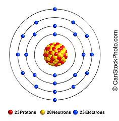 Vanadium - 3d render of atom structure of vanadium isolated...