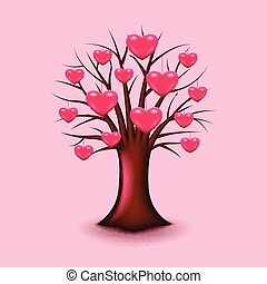 Tree with hearts isolated vector