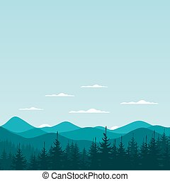 Mountain nature6 - Fog in a pine forest. Vector illustration