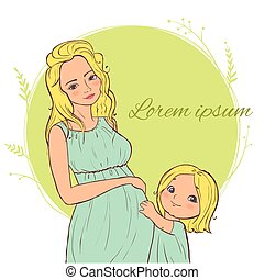 Card with beautiful blond pregnant woman with a child