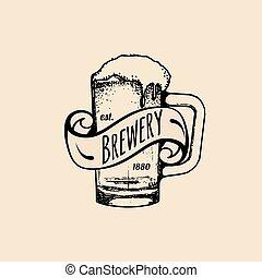 Kraft beer mug logo. Lager cup retro sign. Hand sketched ale...