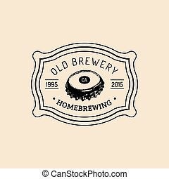 Kraft beer bottle cap logo. Old brewery icon. Hand sketched...