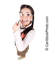 nerd - young silly brunette adult woman. over white...