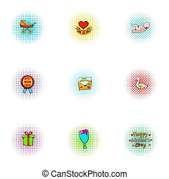 Mothers day icons set, pop-art style - Mothers day icons...