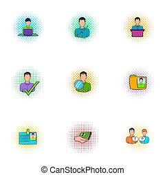 Manager icons set, pop-art style - Manager icons set....