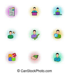 Businessman icons set, pop-art style - Businessman icons...