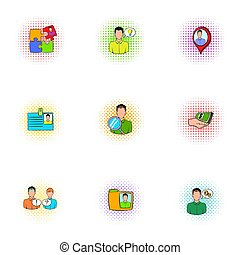 Business icons set, pop-art style - Business icons set....