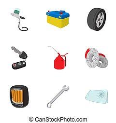 Renovation for machine icons set, cartoon style - Renovation...