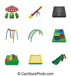 Fun in yard icons set, cartoon style - Fun in yard icons...