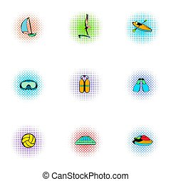 Water sport icons set, pop-art style - Water sport icons...