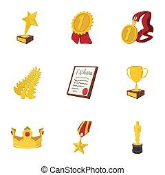 Rewarding icons set, cartoon style - Rewarding icons set....