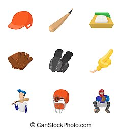 Sport with bat icons set, cartoon style - Sport with bat...