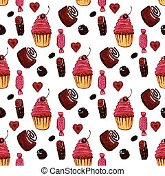 Seamless background with sweets and cakes