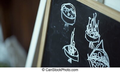 On a blackboard white chalk is drawn bouquet schemes for clarity.