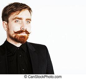 joven, pelo, negro, rojo, Traje, pizca, Barba, bigote,...