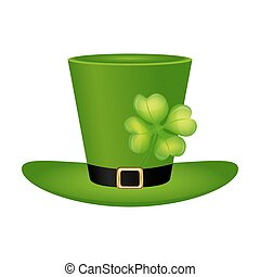 Cylinder hat leprechaun with clover leaf for St. Patrick...