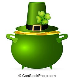Pot of money and a hat with a clover for St. Patrick's Day...