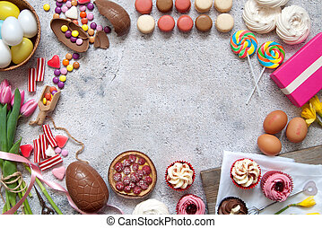 Easter bakery food background - Assorted easter sweets,...