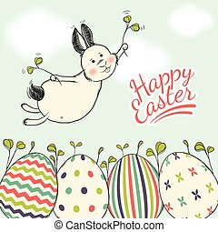Beautiful Easter card with flying easter bunny on a blue sky background