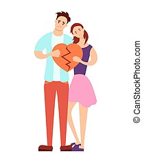 Couple holding a broken heart on a white background. Vector...