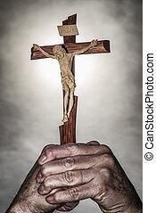 Cross in hands and dark sky - Jesus christ on cross in hands...