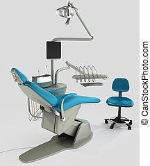 Model of modern dental chair. 3D illustration