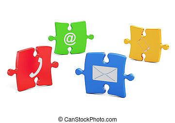 シンボル, 色, 困惑, 私達, レンダリング, 連絡, 3D