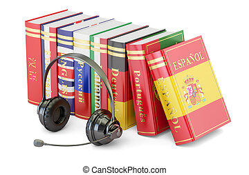 Headset and language books, learning and translate concept....