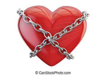 Red heart with chain, 3D rendering