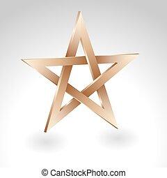 pentagram - golden pentagram sign on white background