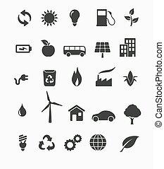 Renewable energy icon set - Vector illustration of renewable...
