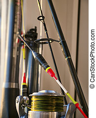 Float, fishing rod and fishing reel close-up