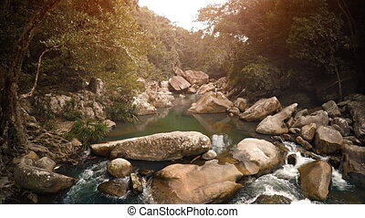 Babbling Brook in the Jungle near Nha Trang, Vietnam, with...
