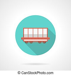 Open boxcar blue round vector icon - Open rail boxcar for...