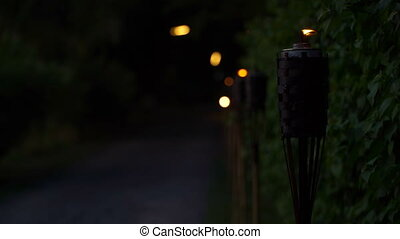Torch lights the road on which a woman is riding a moped. -...