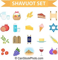 Shavuot icons set, flat style. Collection design elements on...
