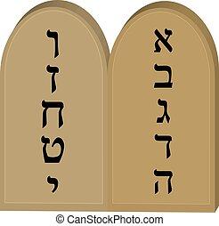Tablets Jewish from 10 commandments icon, flat, cartoon...