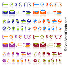 Complete set of icons - Complete set of different icons on a...