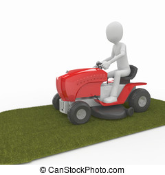 3d man with lawn mower - 3d man with big red lawn mower