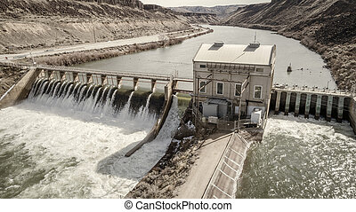 Historic Diversion Dam on the Boise River in Idaho