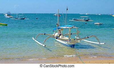 Assortment of Boats Tied off a Balinese, Tropical Beach...